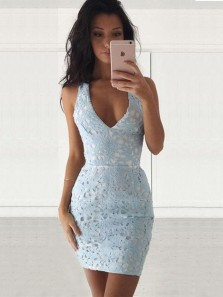 Sheath / Bodycon Chic V Neck Open Back Lace Light Blue Short Party Dresses, Homecoming Dresses