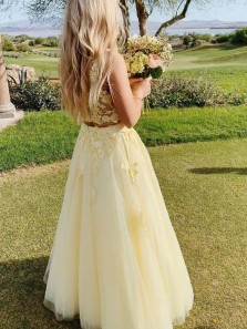 Cute A Line Two Piece Square Neck Daffodil Yellow Tulle Prom Dresses with Appliques
