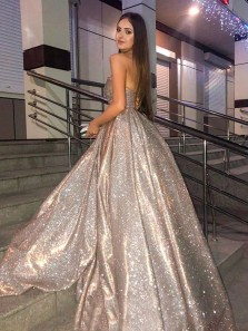 Gorgeous Ball Gown Sweetheart Gold Sparkly Prom Dresses, Strapless Glitter Party Dresses