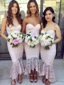Mermaid Sweetheart Blush Pink Lace High Low Bridesmaid Dresses