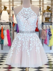 Cute A Line Round Neck White Lace Pink Homecoming Dresses with Beading