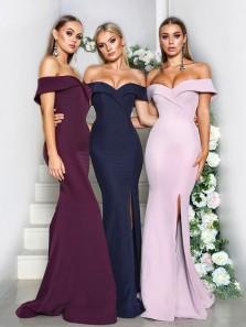 Elegant Off the Shoulder Mermaid Split Pink Long Bridesmaid Dresses