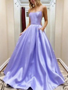 Fashion Ball Gown Spaghetti Straps Lavender Satin Long Prom Dresses with Pockets