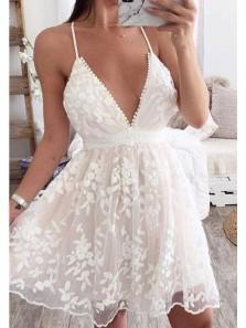 Cute A Line V Neck White Lace Boho Homecoming Dresses, Short Summer Beach Dress
