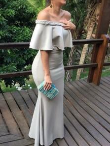 Chic Mermaid Off the Shoulder Ruffled Neck Grey Satin Long Evening Dress, Wedding Guest Dress