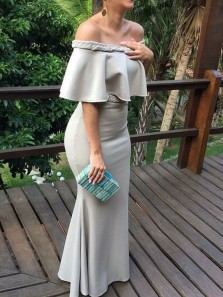 Chic Mermaid Off the Shoulder Ruffled Neck Grey Satin Long Evening Dress, Wedding Guest Dress