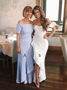 Chic Elegant Mermaid White Prom Dresses with Ruffled, Split Evening Party Dress, Mother of bride Dresses