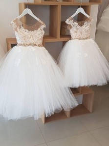 Cute A Line Round Neck Open Back Tulle Flower Girl Dresses with Lace