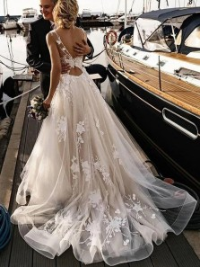 Ball Gown V Neck Open Back Champagne Tulle Wedding Dress with Appliques