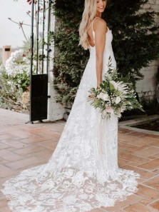 Fairy & Boho A Line V Neck Open Back Lace Wedding Dress, Beach Wedding Dresses for Summer