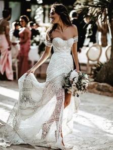 Retro Mermaid Sweetheart Lace Beach Wedding Dress, Gorgeous Elegant Wedding Dresses for Brides