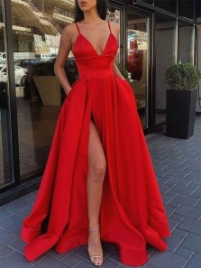 Fashion Ball Gown V Neck Side Split Red Satin Long Prom Dresses with Pockets