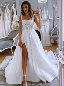 Ball Gown Square Neck Split Tulle Wedding Dresses with Appliques WD2050701