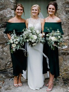 Sheath Off the Shoulder Dark Green Satin Tea Length Bridesmaid Dresses Under 100