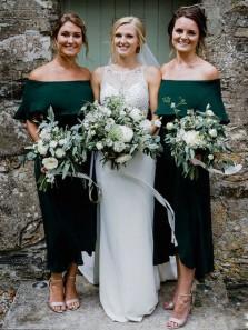 Sheath Off the Shoulder Dark Green Satin Tea Length Bridesmaid Dresses Under 100