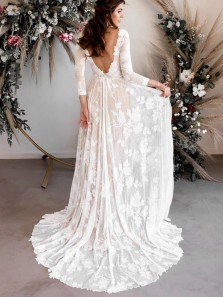 Fairy & Flowers A Line Round Neck Lace Beach Wedding Dresses with Long Sleeves
