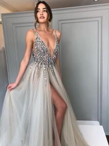 Charming A Line V Neck Side Split Beading Grey Wedding Dresses