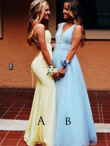 Cute A Line V Neck Blue Beading Long Prom Dresses, Fashion Quinceanera Dresses