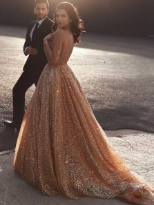 Gorgeous Sparkly V Neck Open Back Gold Sequins Wedding Dresses, Luxur Glitter Wedding Gowns