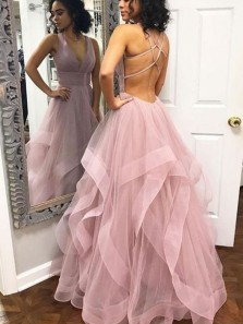 Sparkly Ball Gown V Neck Cross Back Lavender Tulle Long Prom Dresses, Quinceanera Dresses