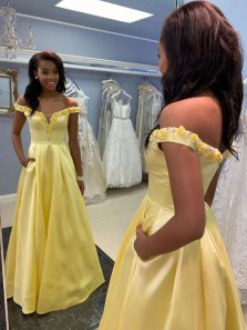 Ball Gown Off the Shoulder Yellow Satin Appliques Prom Dresses, Prom Gown with Pockets