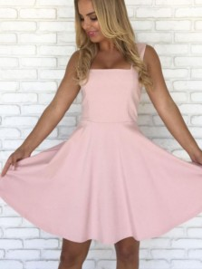 Cute A Line Square Neck Pink Short Homecoming Dresses, Short Prom Dresses