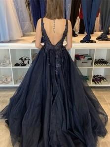 Gorgeous Ball Gown V Neck Black Prom Dresses with Appliques, Unique Quinceanera Dresses