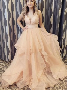 Cute Ball Gown V Neck Open Back Peach Organza Prom Dresses, Sweet 16 Dresses