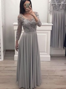 Elegant A Line Round Neck Long Sleeves Lace Mother of the Bride Dresses, Evening Dresses