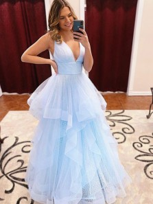 Sparkly Ball Gown V Neck Light Blue Tulle Prom Dresses, Quinceanera Dresses