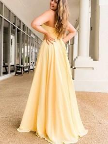 Cute A Line Sweetheart Daffodil Satin Split Prom Dresses, Simple Prom Dresses