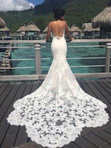 Gorgeous Mermaid Lace V Neck Spaghetti Straps Wedding Dresses