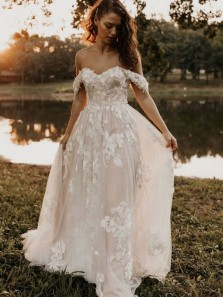 Fariy A Line Off the Shoulder Lace Tulle Wedding Dresses, Boho Beach Wedding Dresses for Bride