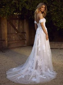 Fariy A Line Off the Shoulder Lace Tulle Wedding Dresses, Boho Beach Wedding Dresses for Bride