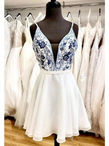 Cute A Line V Neck Spaghetti Straps Beading White Chiffon Homecoming Dresses