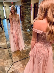 Cute A Line Off the Shoulder Split Blush Pink Prom Dresses with Appliques