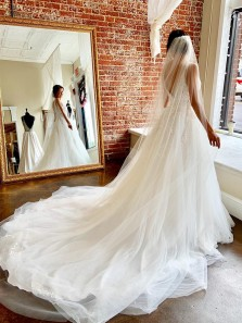 Gorgeous Ball Gown V Neck Open Back Tulle Wedding Dresses with Appliques