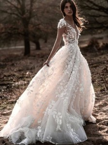 Cute Fairy Ball Gown V Neck Open Back Cap Sleeves 3D Lace Wedding Dresses