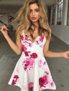 Cute A Line V Neck Spaghetti Straps Floral Printed Satin Short Homecoming Dresses