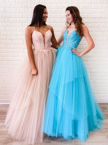 Ball Gown V Neck Spaghetti Straps Blush Pink Tulle Long Prom Dresses with Appliques