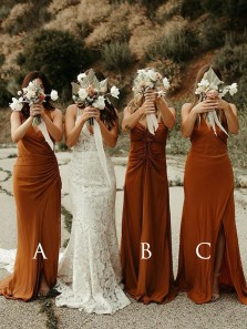 Boho Sheath V Neck Burnt Orange Chiffon Long Bridesmaid Dresses with Split