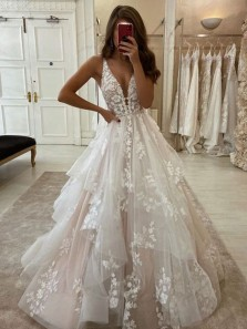 Gorgeous Floral Ball Gown V Neck Pink & White Lace Wedding Dresses with Appliques