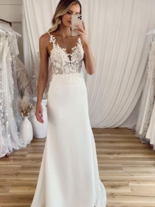 Chic Simple Sheath V Neck Satin Long Wedding Dresses with Appliques
