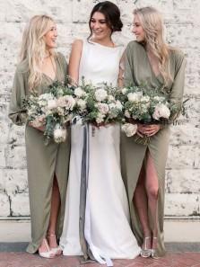 Fairy Sheath V Neck Long Sleeves Split Celadon Chiffon Bridesmaid Dresses
