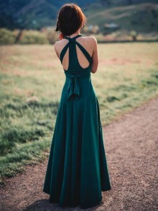 Charming A Line V Neck Straps Dark Green Chiffon Split Bridesmaid Dresses