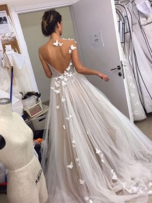 Fairy & Sweet Ball Gown V Neck Open Back Tulle Champagne White Wedding Dresses with Butterfly Appliques