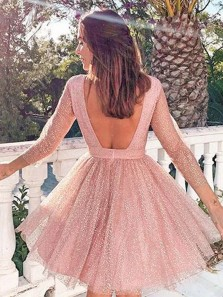 Sparkly A Line Round Neck Long Sleeves Open Back Blush Tulle Short Homecoming Dresses