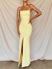 Simple Sheath Square Neck Spaghetti Straps Daffodil Satin Split Long Evening Dresses, Party Dresses ED2052501