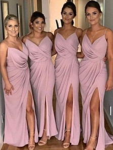 Elegant Sheath V Neck Spaghetti Straps Blush Pink Split Ruffled Bridesmaid Dresses
