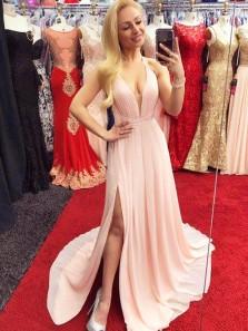 Charming A Line V Neck Pink Chiffon Spaghetti Straps Chiffon Long Prom Dresses with Split, Evening Party Dresses Under 100
